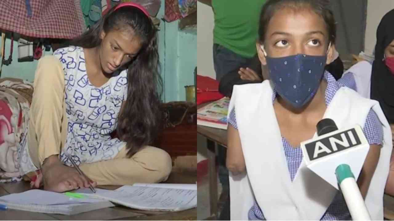 Bihar: Specially-abled girl learns to write with toes, aims to be a teacher
